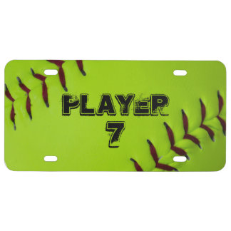 Personalized softball license plate