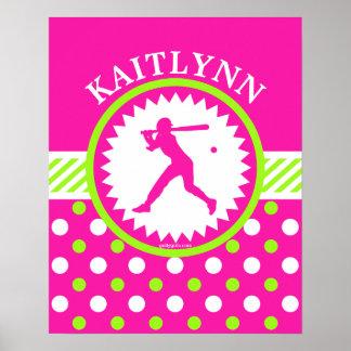 Personalized Softball Pink - Green Polka-Dots Poster