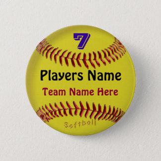 PERSONALIZED Softball Pins, NUMBER, NAME and TEAM 2 Inch Round Button
