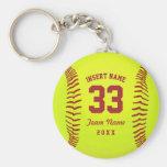 Personalized Softball Team Basic Round Button Keychain
