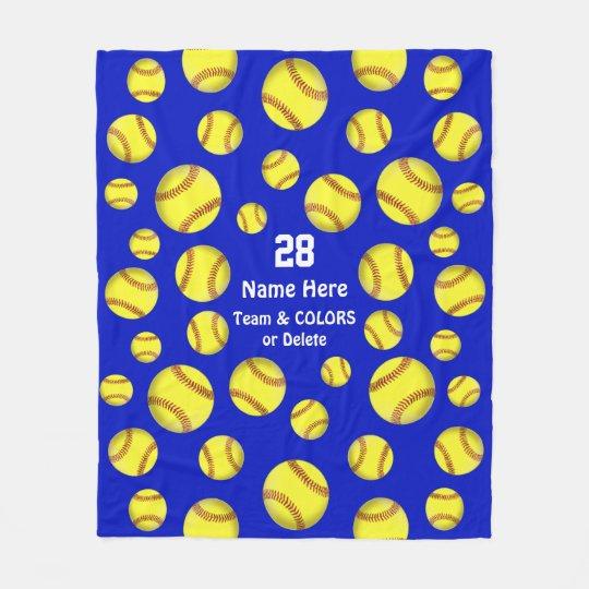 Personalized Softball Throw Blanket, Text, Colours Fleece Blanket
