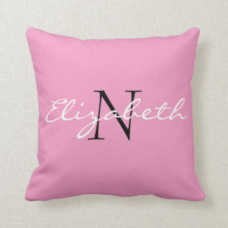 Personalized Solid Pink.Cartoon Cupcake Collection Throw Pillow