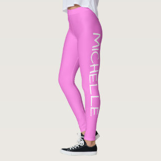 Personalized Solid Pink Leggings