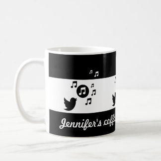 Personalized Songbird Black and White Coffee Mug