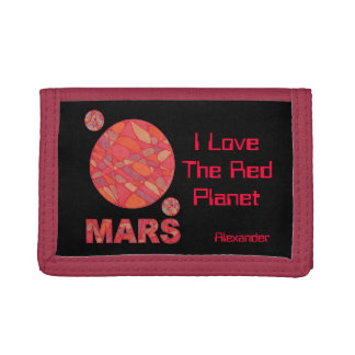 Personalized Space Geek Red Planet Mars Billfold Trifold Wallets