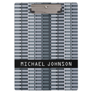 Personalized Space Gray Contemporary Art Pattern Clipboard