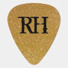 Personalized sparkling gold glitter guitar pick
