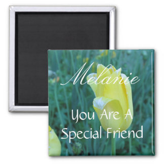 Personalized Special Friend Yellow Tulip Magnet