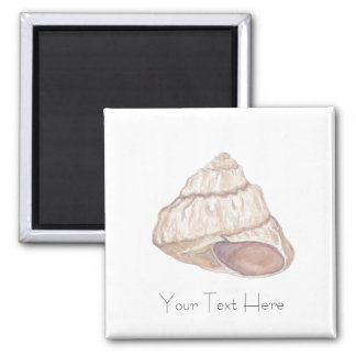 Personalized Spiral Beach Shell Square Magnet