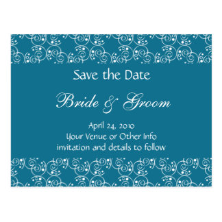 Personalized Spiral Swirls Save the Date Postcards