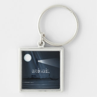 Personalized Spooky Lighthouse and Full Moon Night Silver-Colored Square Keychain