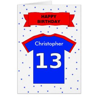 Personalized sports tee 13th birthday card