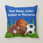 PERSONALIZED Sports Throw Pillows, Change Colours Throw Pillow