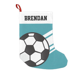 Personalized Sporty Stripes Soccer Ball Aqua Blue Small Christmas Stocking