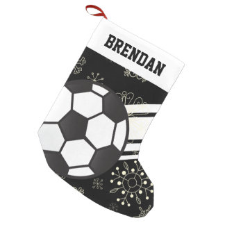 Personalized Sporty Stripes Soccer Ball Black Small Christmas Stocking