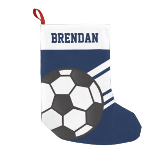 Personalized Sporty Stripes Soccer Ball Navy Blue Small Christmas Stocking