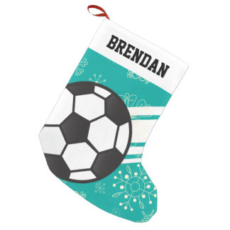 Personalized Sporty Stripes Soccer Ball Teal Blue Small Christmas Stocking