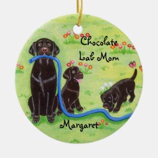 Personalized Spring Fun Labradors Painting Ceramic Ornament