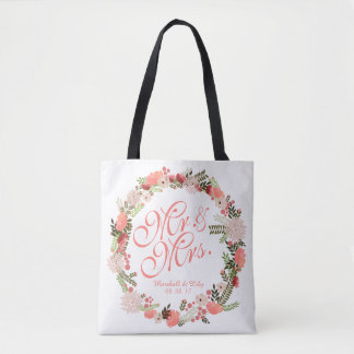 Personalized Spring Watercolor Wedding Tote Bag