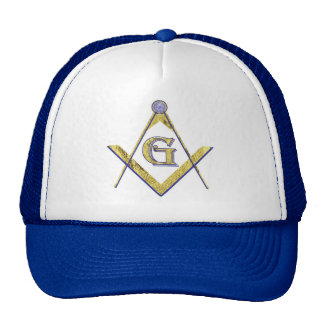 PERSONALIZED SQUARE AND COMPASSES MASONIC TRUCKER HAT