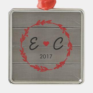 Personalized Square Couple's Initials Ornament