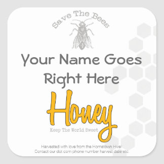 Personalized Square Honey Bottle Custom Label