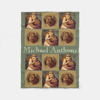 Personalized St. Anthony of Padua & Child Jesus Fleece Blanket