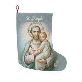 Personalized St. Joseph with Baby Jesus Large Christmas Stocking