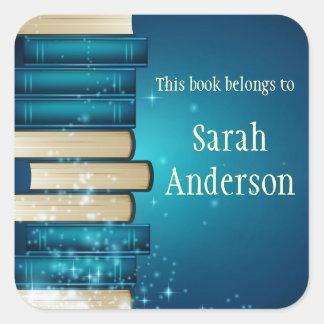 Personalized Stack of Books Bookplate Sticker