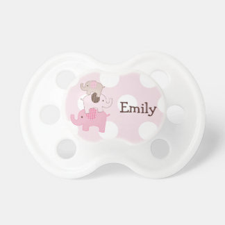 "Personalized ""Stacked Elephants on Dots"" Pacifier"