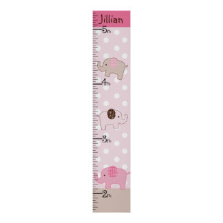 Personalized Stacked Pink Elephants Growth Chart