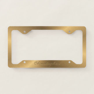 Personalized Stainless Steel Gold Metallic Radial License Plate Frame
