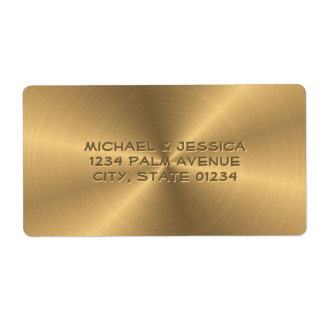 Personalized Stainless Steel Gold Metallic Radial Shipping Label