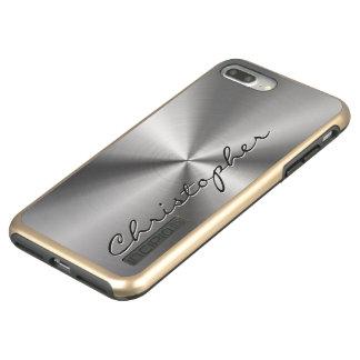 Personalized Stainless Steel Metallic Radial Look Incipio DualPro Shine iPhone 8 Plus/7 Plus Case