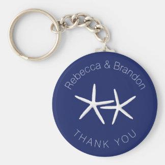 Personalized Starfish Navy Wedding Key Ring Favor