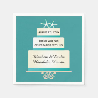 Personalized Starfish Wedding Cake Napkins Disposable Napkins