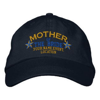 Personalized Stars Mother of the Bride Gold Blue Embroidered Hat