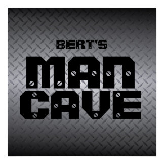 Personalized Steel Diamondplate Man Cave Poster