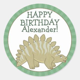 Personalized Stegosaurus Kids Birthday Stickers