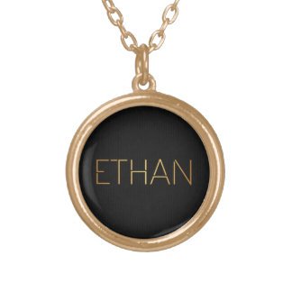 Personalized Stencil Font Ethan Gold Black Round Pendant Necklace