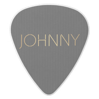 Personalized Stencil Font Johnny Gold Black White Delrin Guitar Pick