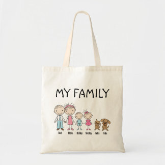 Personalized Stick Figure Family Tote Bag