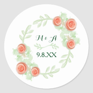 Personalized Sticker - Floral Rose Wreath