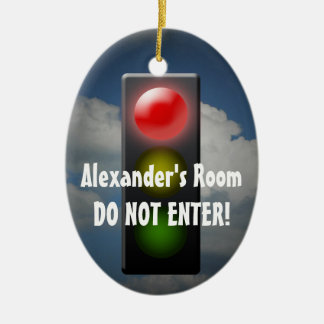 Personalized Stop / Go Door Hanger, Traffic Light Ceramic Ornament