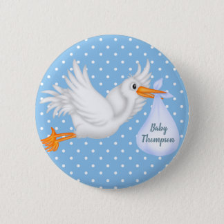 Personalized Stork Button for Boys