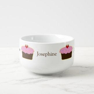 Personalized Strawberry Heart Cupcake Themed Gifts Soup Mug