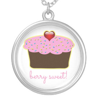 Personalized Strawberry Heart Cupcake Themed Silver Plated Necklace