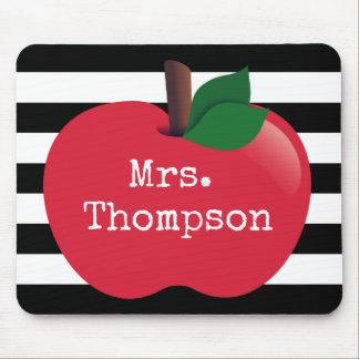 Personalized Striped Apple Teacher Mousepad