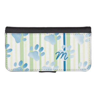 Personalized Striped Blue Paw Print iPhone SE/5/5s Wallet Case