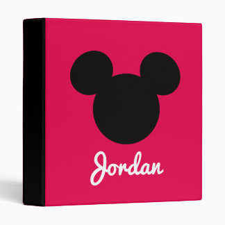 Personalized Striped Mickey Head Silhouette Vinyl Binders